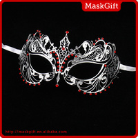 High quality silver metal red stone party masks for sale