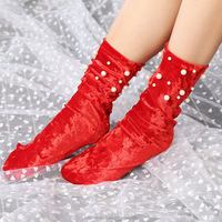 Young Girls Pearl Creative Fashion Gold Velvet Socks red Christmas Socks Wholesale