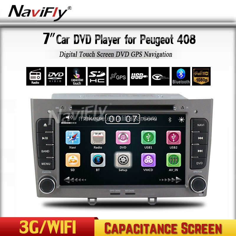 2din in dash Special Car DVD Stereo Navigation for Peugeot 408 & 308 Gray with GPS RDS IPOD 3G SWC Rearview