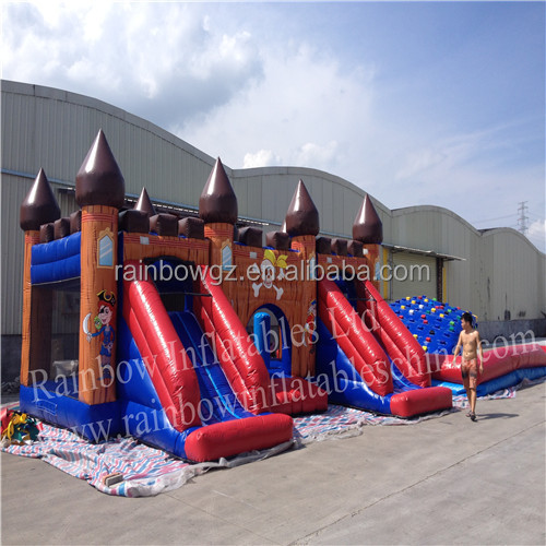 2015 new design cool cheap giant inflatable double slide bouncer castle for kids