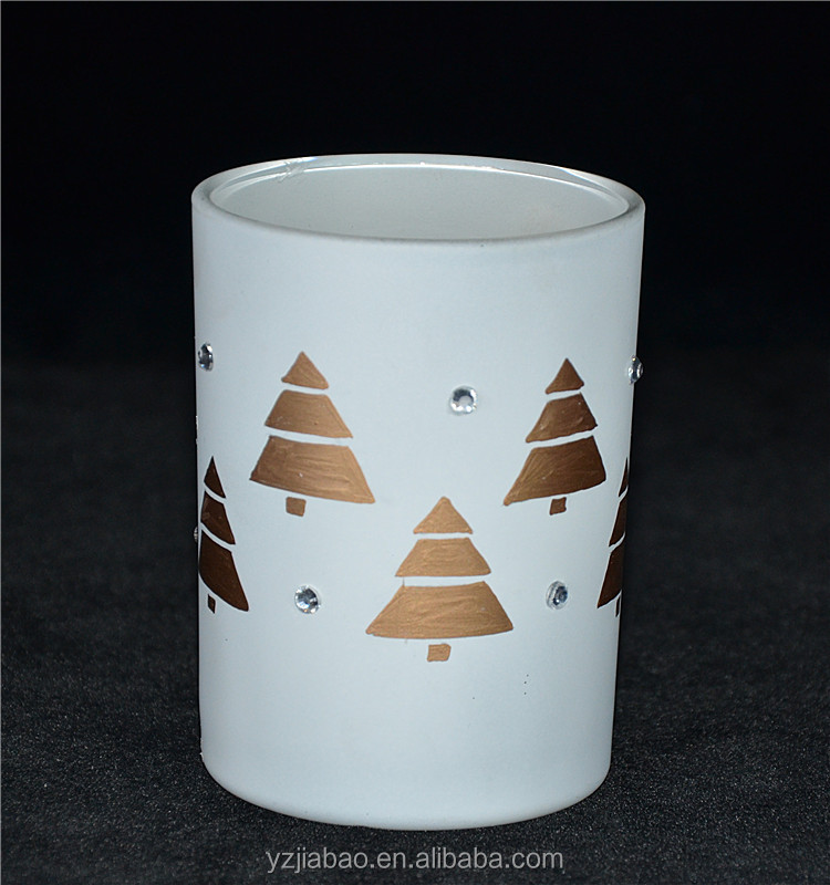 2016 new gifts &amp crafts, white tall candle candle holder, with golden painted christmas tree as home or garden decoration