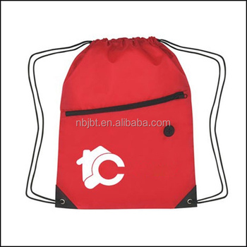 Cheap Custom promotional zipper drawstring bag