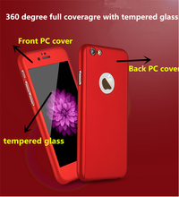 360 degree Full protective slim hard PC cell phone case with tempered glass PC cover for iphone 6/6 plus