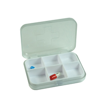 6 Compartments Plastic Pill Organizer Box Case for Daily or Travel Use
