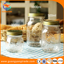 FDA Certificated Glass Jar For Food, CE Approved Glass Honey Jar with Tin plate cap Manufacturing