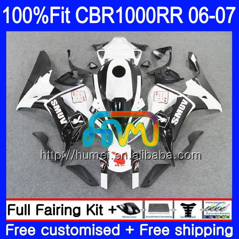 Injection Body For HONDA CBR 1000 white black RR CBR 1000RR 2006 2007 86HM52 CBR1000RR 06 07 CBR1000 RR 06 07 OEM Fairing kit