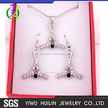 S50103 Yiwu Huilin Jewelry Sport Earring Crystal Pendant French Hook Ice Hockey Sticks jewelry Sets earring necklace