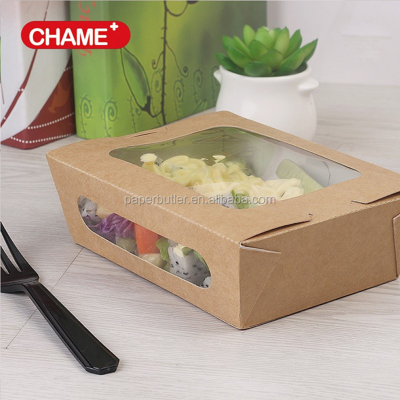 Disposable printed paper salad containers with pet window