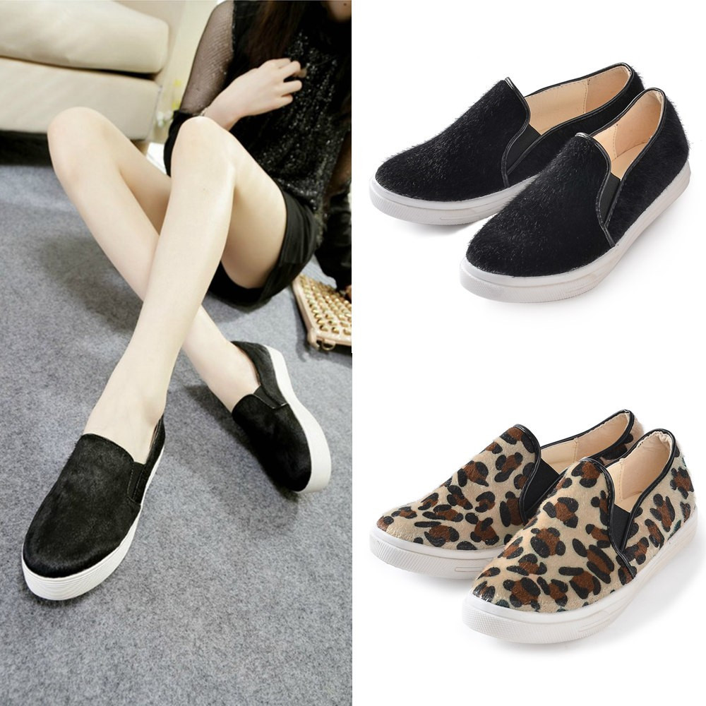 New Fashion Women Flats Slip On Round Toe Casual Loafers Plimsolls Sneaker Shoes