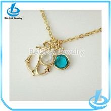 Best friend anchor necklace with two birthstones nautical necklace