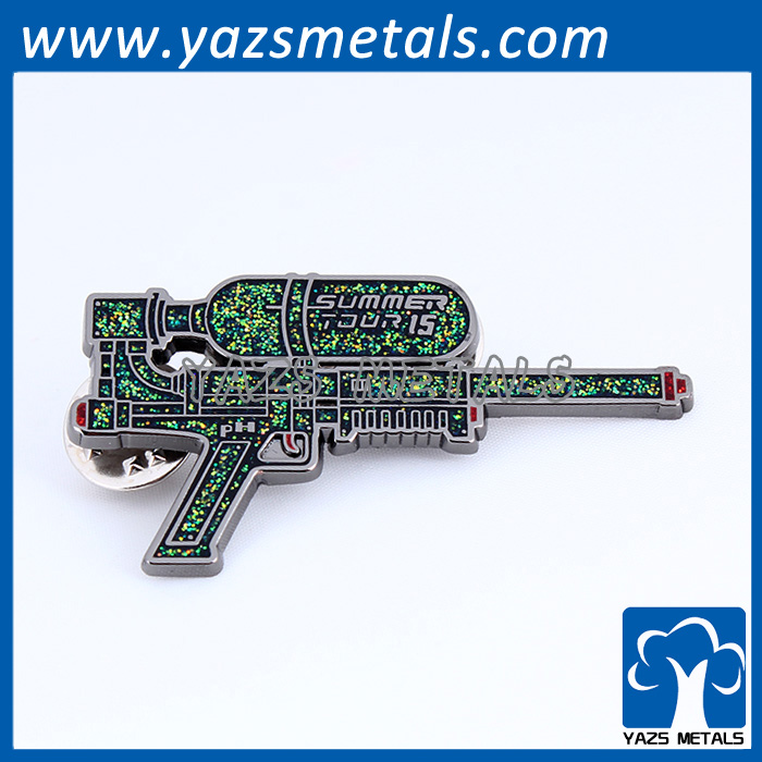 china manufacturer OEM custom gun shape metal badge