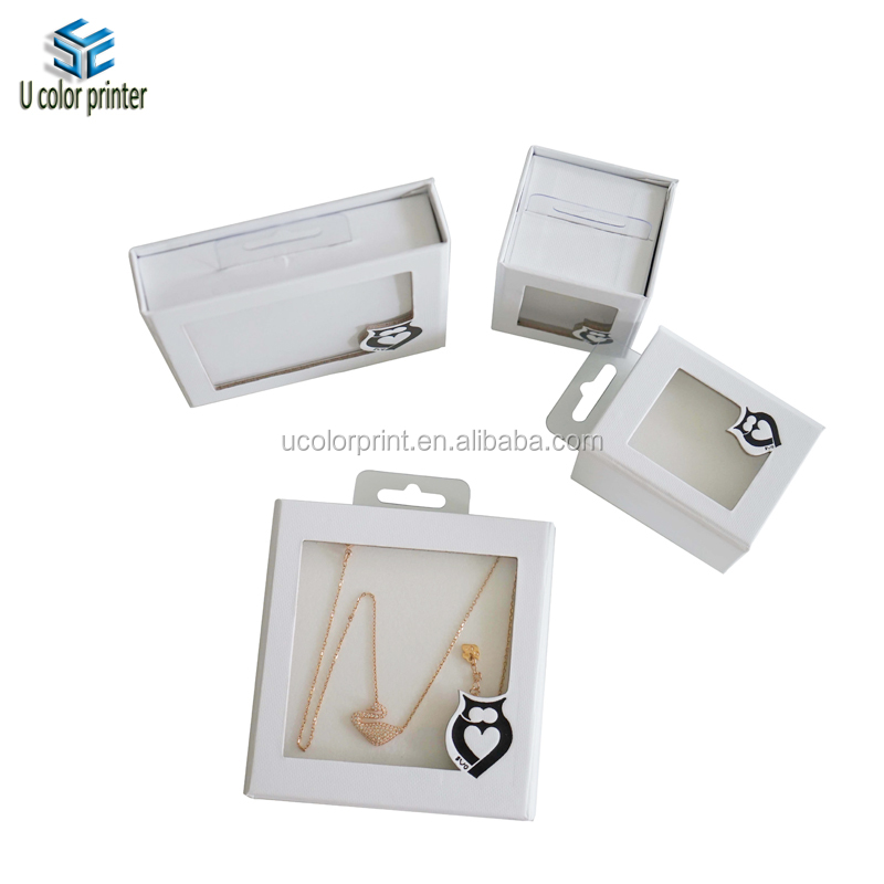 Hot sale custom white small PVC window jewelry box with handle