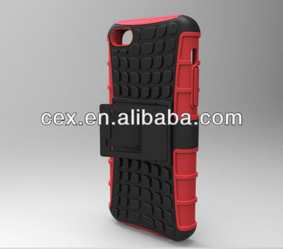 For Apple iPhone 5C New Arrival Silicone and PC Hard Tech Armor Black Rugged Series with Stand Case