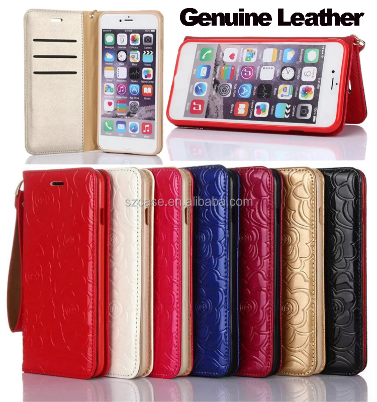 For apple iPhone SE case genuine leather Rose Grain Wallet Stand Smart phone case for iphone 5 SE