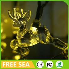 waterproof 20 plastic running deers eco friendly solar power christmas decoration string light