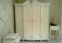 Silver Leaf 4 Doors Big Wardrobe, New classic White Wooden Wardrobe
