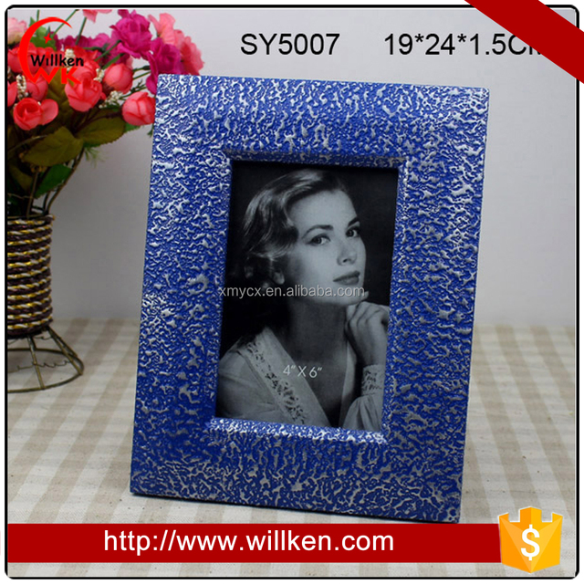 Metal like Paper Wood 4x6 Photo Frames Blue and Silver