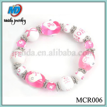 Breast Cancer Awareness Pink Ribbon hope cancer awareness beaded bracelets MCR006