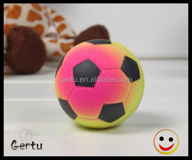 2016 promotional rainbow color soccer ball shape rubber ball