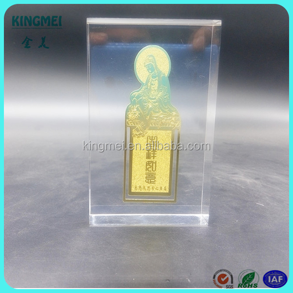 Shenzhen factory Crystal embedment metal award block for souvenir and gifts