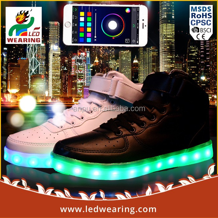 Bluetooth APP sneakers led shoes for women/men sport shoes 2016 sneaker