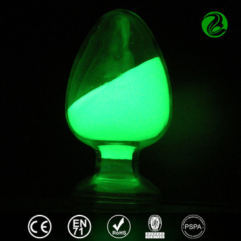Yellow-green luminescent glow in the dark plastics resin