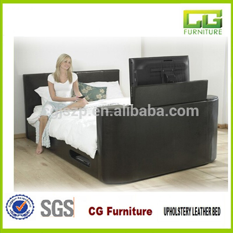 Double/Queen/King Size Leather Tv Bed With Tv In Footboard