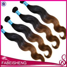 Wholesale high quality two tobe color body wave Brazilian ombre human hair weft