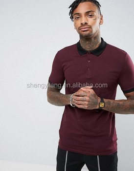 Mens cotton spandex Pique Skinny Fit Polo Shirt With Contrast Rib