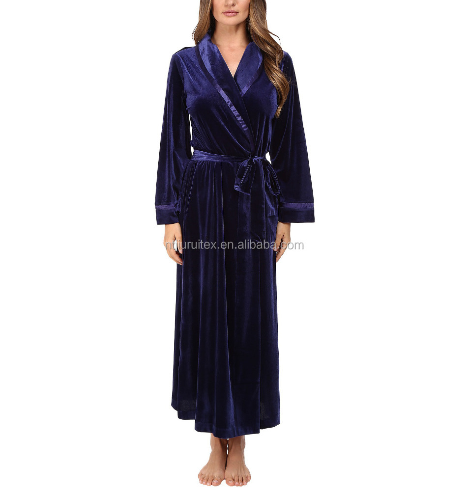 women's navy long polyester velvet robe