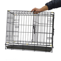 Cheap heated black metal iron welded wire pet dog cage kennel with devider
