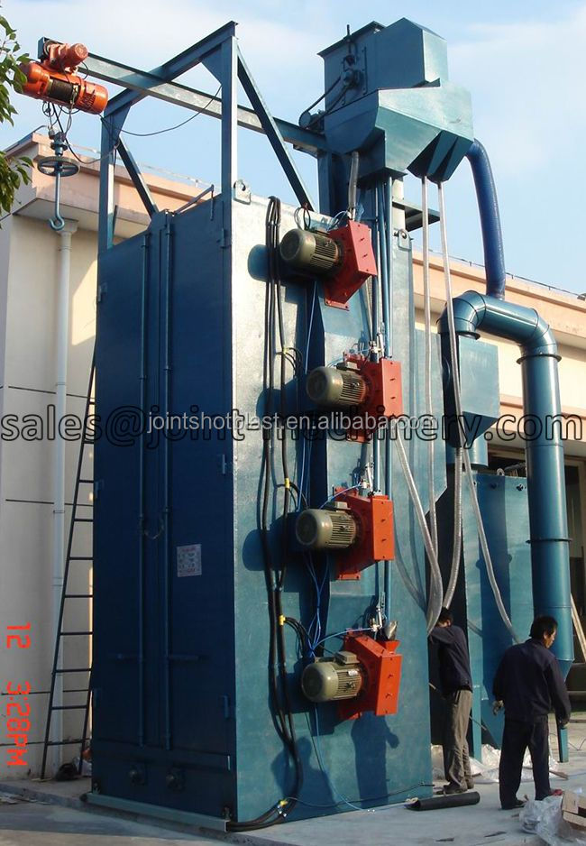 Dual hook /Spinner hanger shot blast machine/Overhead rail shot blasting machine