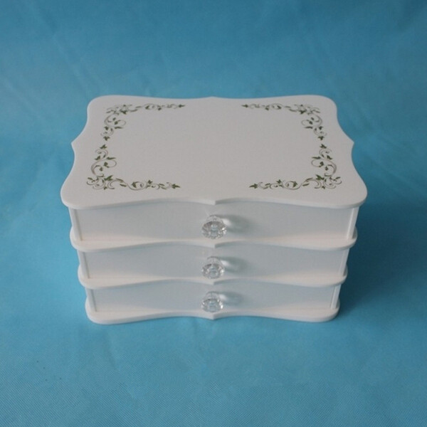 CB-1482 White acrylic jewelry storage drawer