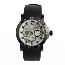 Quartz movement mens silicone watch stainless steel buckle 304