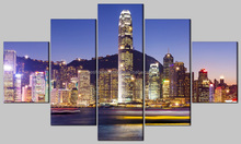 modern home decor multi-panel canvas print wall art,5pcs canvas with led lights