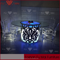 LED light beautiful banquet/wedding used acrylic dining table and chairs