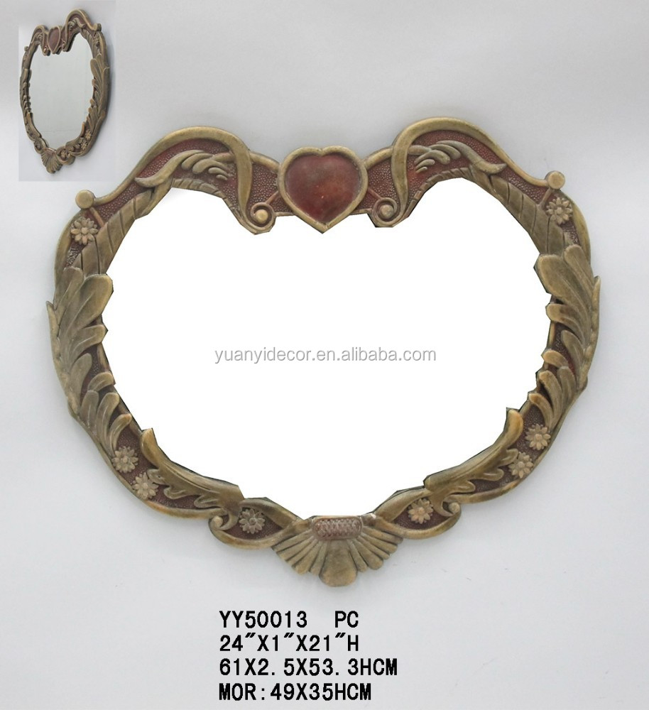 Decorative resin wall mirror in heart shaped, Heart shaped resin wall mirror for home decors