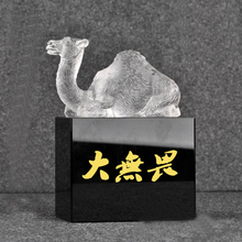 Hand made polished white crystal glass camel award trophy black and clear base available