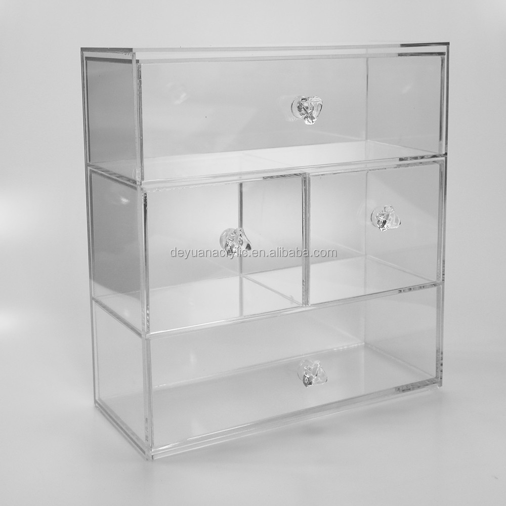 Crystal Hande Acrylic Make up Orgnizer with Drawers