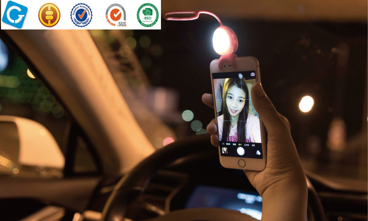 Portable Clip-on LED Selfie Ring Light Fill-in Light Night Supplementary Light for mobile