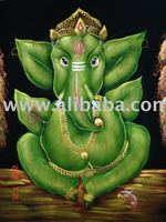 GANESHA ART India GOD HANDICRAFT OIL PAINTING ON VELVET