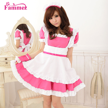 Wholesale sexy pink french maid dress maid costume for party