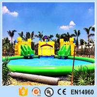 Inflatable water playground/water swimming pool with slide/giant round inflatable pool