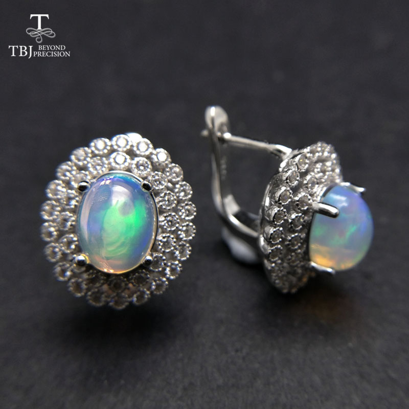 TBJ,good Clasp earring with Natural ethiopian opal gemstone classic dianna in 925 sterling silver jewelry for women as best gift