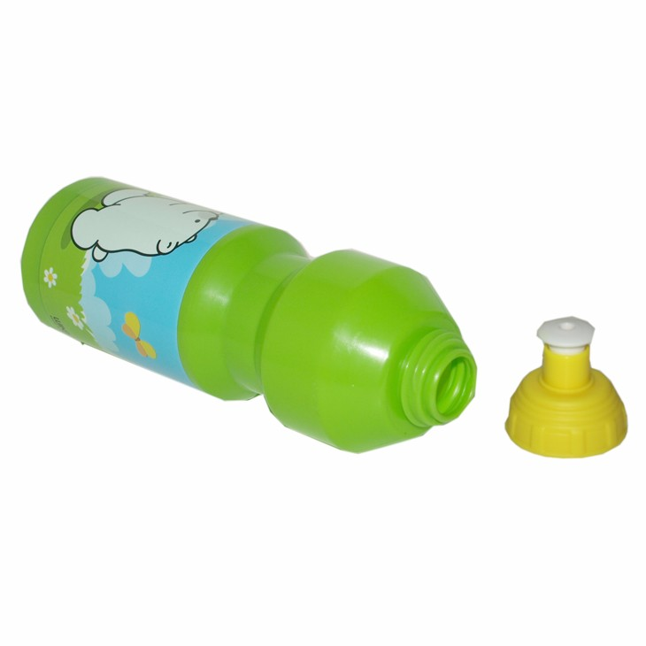 PE sport bottle with fluff painting surface for soft to touch