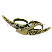 New Arrival Vintage Alloy Flying Bird Double Finger Ring