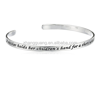 Mother's Day Metal Alloy Bangles Lettering A Mother Holds Her Child's Hand For A Short While And Their Hearts Forever