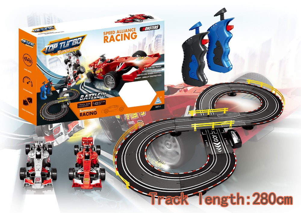 Soba toys factory slot toy racing car slot track train set 1:43 electric slot car racing track set