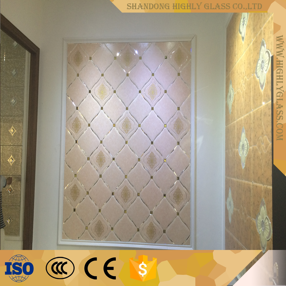 TV wall design with glass wall decorative panels