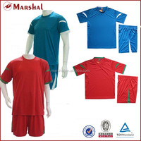 Latest soccer kits customized, new design football uniform cheap, 100% polyester blank soccer jersey shopping on line